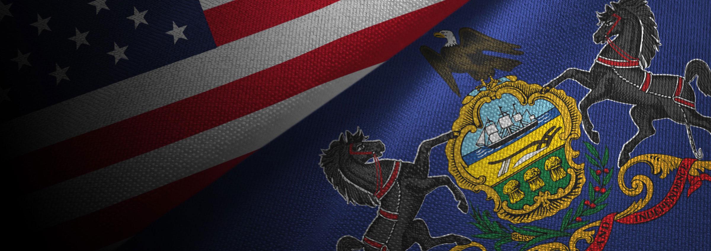 American flag and Pennsylvania flag